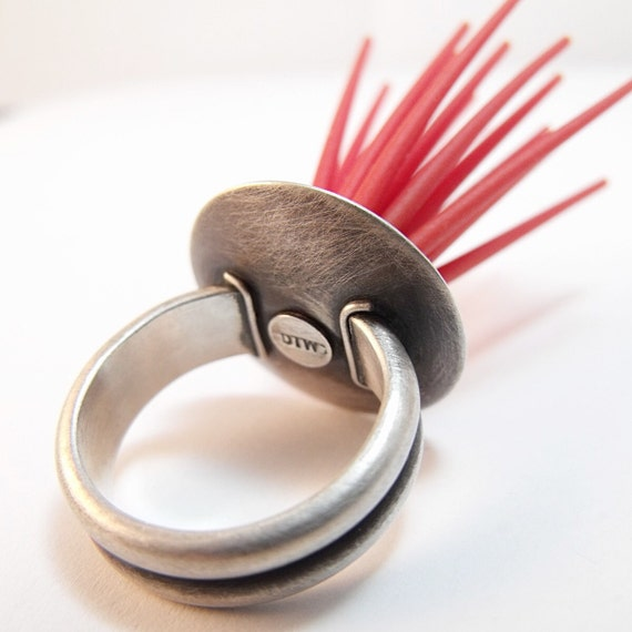 Robo Urchin - Sterling Silver Statement Ring - Sea Urchin Ring - From the Robot Sea Series - Red Silicone and Sterling Silver
