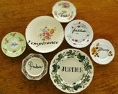 Seven Heavenly Virtues hand painted vintage china plate wall art assemblage with hangers recycled display decor SALE