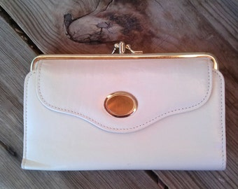 Vintage 1970s Wallet Billfold White 70s All In One Clutch 201547