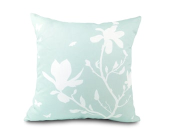 White on Pastel Light Blue Magnolia and Butterflies 18 inches Square Pillow