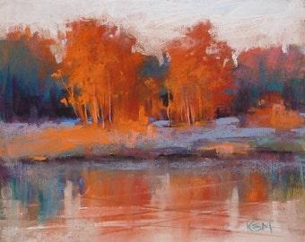 RED trees in Autumn CONTEMPORARY landscape large Original Pastel Painting  Karen Margulis 8x10