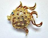 Blowfish Vintage Solid Perfume Locket Brooch Pin by Fuller Brush