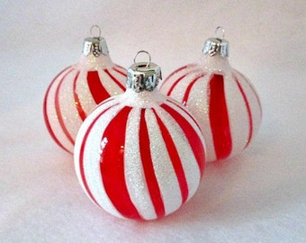 3 Christmas Vintage Glass Ornaments - Peppermint Swirls Ornaments