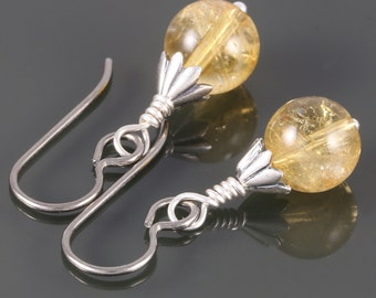 Golden Citrine Earrings with Titanium Ear Wires - November Birthstone - f16e012