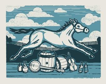 Blue Mare - Screenprinted Art Print