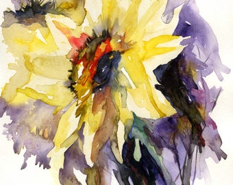 Watercolor and Ink Yellow Sunflower Abstract Painting, Flowers, Sunflower Art, Flower Decor