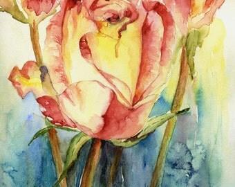 Watercolor Yellow Red Roses Giclee Print, Rose Art, Rose Prints