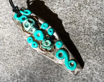 Polymer Clay Coffin & Turquoise Stone Skull Rose Casket Pendant