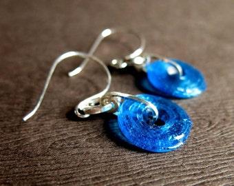 Blue Glass Donut Bead Earrings, Swimming Pool Blue Round Glass Bead Earrings, Blue Handmade Glass and Sterling Glass Earrings