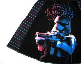 Star Wars Tee Skirt. womens upcycled tshirt skirt Storm Trooper - Sm Small womens skirt black red blue white stripes OOAK upcycled clothing