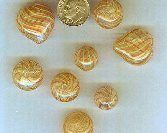 8 Hollow Blown Glass Pendant Beads Orange - Yellow GORGEOUS