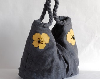 Grey linen bag with yellow poppies