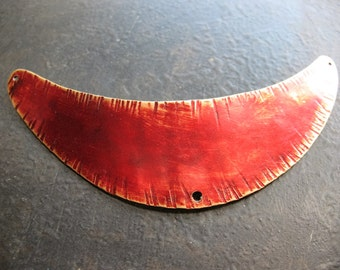 Russet Red Hammered Brass Hole Punched Neck Plaque