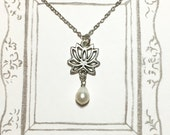 Pearl Lotus Silver-plated or Antique Brass Necklace, Lotus Flower Necklace, Bridesmaid Jewelry, BFF Gift, Graduation Gift, Christmas Gift