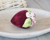 Ruby Red Velvet Beaded Strawberry Sachet, Victorian Style