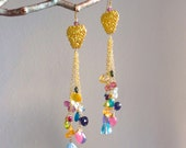 Gemstone Confetti Multi Gem Elegance Cluster Earrings