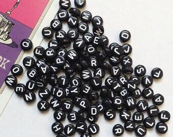 50 Black / White 7mm round Alphabet Letter Beads #96