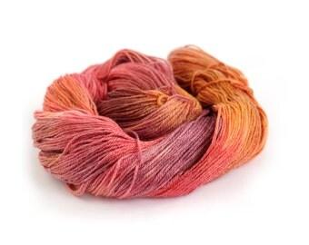 Merino Tencel 4ply yarn, hand dyed superwash sock wool, handdyed fingering Sunset Party, fiery orange gold plum, Perran Yarns uk, yarn skein