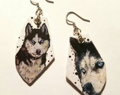 Husky hand-painted dog earrings - black and white