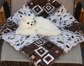 Brown Pet Bed, Small Dog Blanket, Pet Quilt, Pet Mat, Crate Mat, Travel Pet Bed, Fabric Pet Quilt ,Lightweight Pet Bedding, Pet Bedding