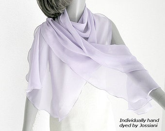 Pale Lavender Shawl Wide Wrap, Light Lilac Mauve Natural Silk Chiffon, Unique Hand Dyed, Medium Large Plus Size, by Silk Artist Jossiani