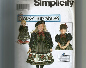 "Simplicity Girls' Dress and 18"" Doll Dress Pattern 0669"