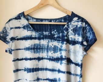 Hand Dyed Scoop Neck T-Shirt in Rip Tide, Anna Joyce, Organic Cotton, Portland Oregon