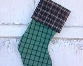 30%OFF SUPER SALE- Green Plaid Stocking -Christmas Stocking-