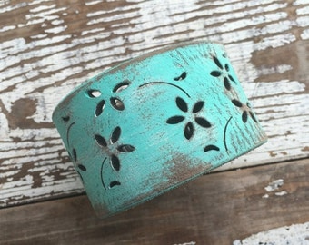 30% OFF SUPER SALE- Custom Leather Cuff-Create Your Own-Word Cuff- Weathered Aqua