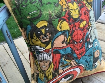 40% FLASH SALE- Marvel Throw Pillow-Marvel Heroes- Comic Book- Throw Pillow--Upcycled Eco Friendly-Quilted