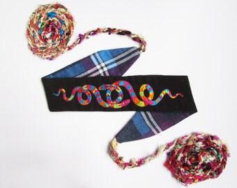 Rainbow Snake sash belt in organic cotton