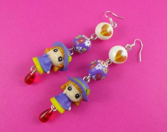 Kawaii Girl Earrings - cute little girls in purple dresses and bonnets, Harajuku Decora, purple yellow red, Sweet Lolita, Deco Lolita, fun!