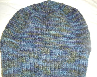 Hand knit knitted hand dyed wool flax hat beanie one size adult men women blue gray watch cap chapeaux