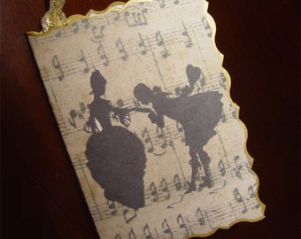 4 Gift tags music regency couple silhouette sheet music background black & gold or silver