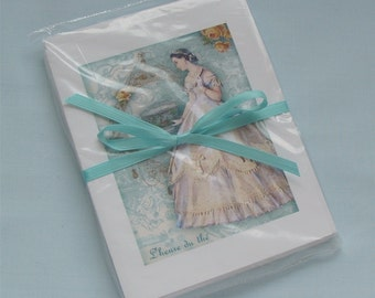 Notecards pkg of 8 Tea Time L'heure Du Tea French old South dress revolutionary late 1700's