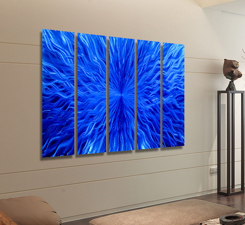 blue multi panel wall art contemporary wall by jonallenmetalart