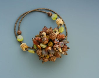 Fringe Necklace. Bead Collector Series: W19. Glass beads, pearls, wood.