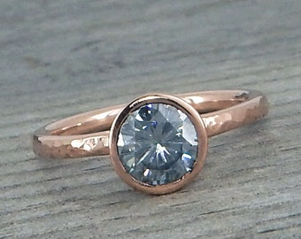 Grey Moissanite Ring in Recycled Hammered 14k Rose Gold - Black/Colored Diamond Alternative - Engagement or Wedding Ring - size 6.75