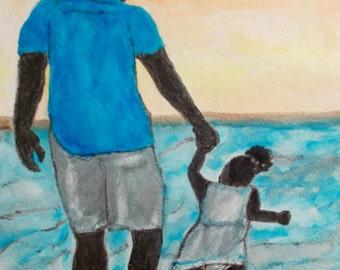 "Beach Trip, Watercolor Painting, 9x12"", Fine Art, Water Color Paintings, Original Art Painting, Figure Painting"