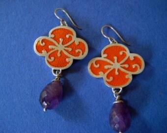 Sterling Silver Fancy Sakura Earrings with Orange Enamel and Faceted drop Amethyst