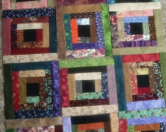 Set of 12 Already Pieced Scrappy Court House Steps Quilt Blocks Presewn 8.5 x 8.5 inches