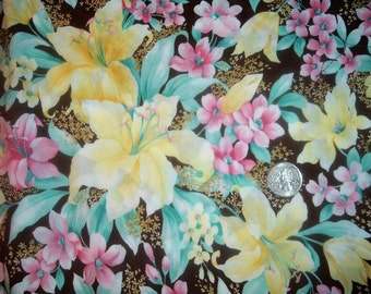 Quilt Fabric Destash Spring Flowers Lillies on Chocolate Brown By the Half Yard