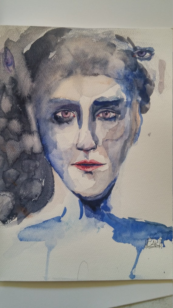Blue- Original watercolor by Carol Kemp
