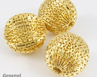 26mm Perforated Gold Round Bead (2 Pieces) #5029