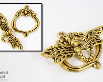 30mm Antique Gold Dragonfly Toggle Clasp #CLA124
