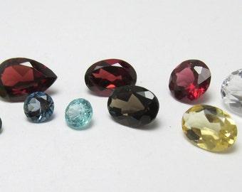 Loose Gemstone Parcel Garnet, Topaz, Peridot Citrine 10 stones 8.00 carats total weight
