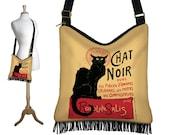Bohemian Gypsy Bag,  Le Chat Noir Cross Body Hobo Bag, Boho Fringe Purse, Hippie Bag, Crossbody Bag, Fabric Handbag, Black Cat Lover RTS