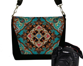 Camera Case DSLR Camera Bag Purse Messenger Bags for Women, Nikon Camera Bag, Canon Camera Bag, Boho Bohemian Mandala blue orange red RTS