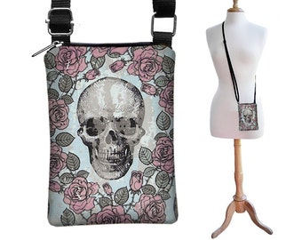 Steampunk Cell Phone Case Small Crossbody Bag  iPhone 6 Shoulder Bag Cross Body Purse, fits other models too, Skulls Roses Pink Blue  RTS