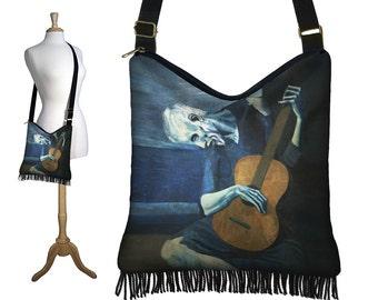 Bohemian Hippie Bag Hobo Purse Crossbody Bag Gyspy Bag Fringe Purse Handbag Old Guitarist Pablo Picasso Art Bag  Guitar Blue Brown Black RTS